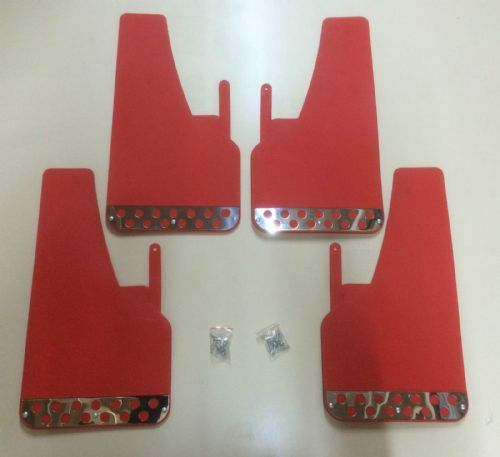 RALLY MUDFLAPS RED X 4 - FORD - VAUXHALL - AUDI